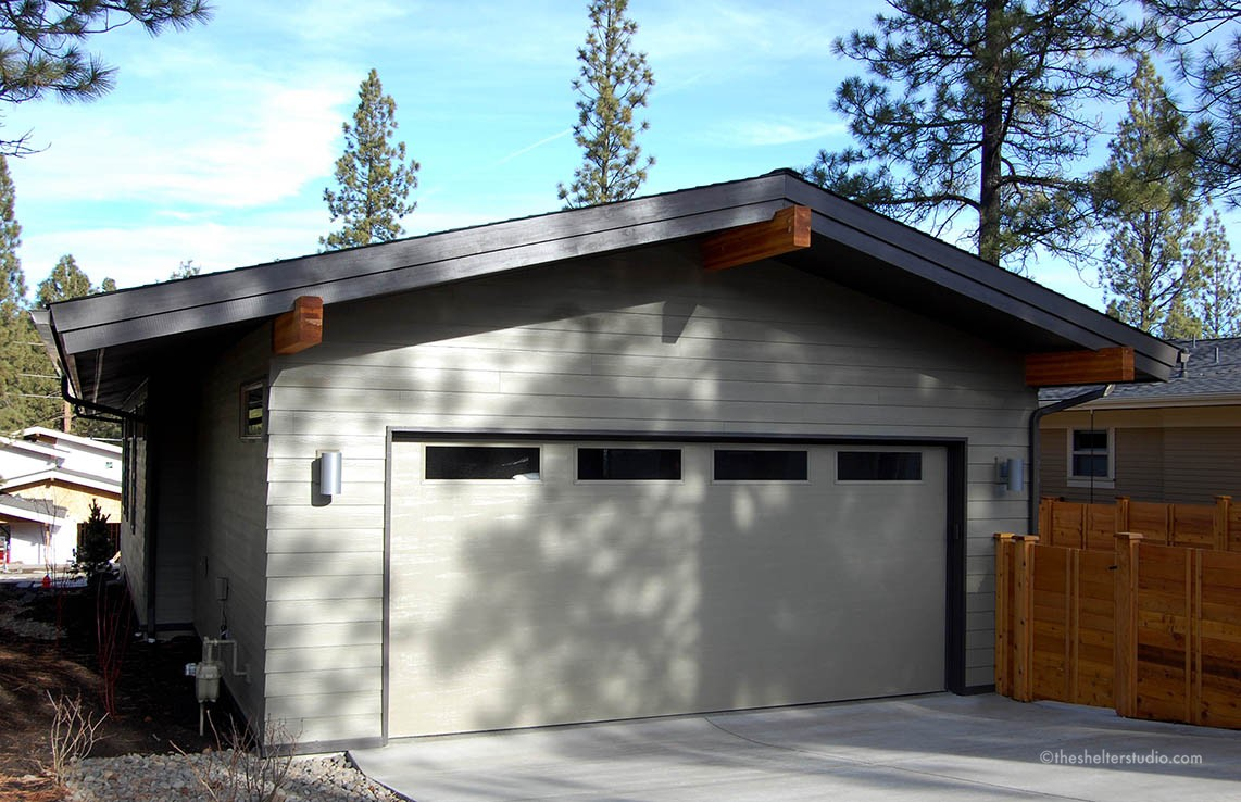 Gallery of custom home designs plans the shelter studio for Mid century modern garage